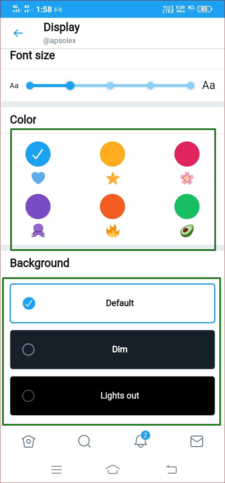 How to change twitter background color