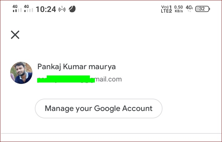 Click on manage your google account